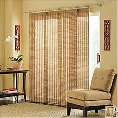 Drapes for sliding glass door. So much nicer than those ugly, cheap plastic vertical blinds!