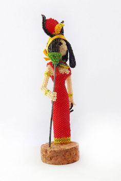 Hathor - Beaded figurine of Ancient Egyptian goddess - handmade seed bead doll - Egypt mythology god beadwork statuette