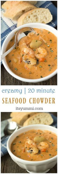 This creamy seafood chowder recipe begins with an easy-to-make homemade seafood stock. Potatoes, shrimp, crab, and lobster meat are added. creamy seafood chowder Solveig Dittmann solveigcd Loom patterns This creamy seafood chowder recipe begins wit Chowder Soup, Chowder Recipes, Seafood Recipes, Soup Recipes, Cooking Recipes, Seafood Appetizers, Shrimp Chowder, Potato Recipes, Snacks