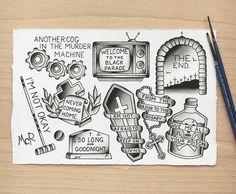 My Chemical Romance tattoo flash sheet Emo Tattoos, Punk Tattoo, Tatoos, Gangster Tattoos, Black Tattoos, Hand Tattoos, Sleeve Tattoos, My Chemical Romance, Tattoo Band