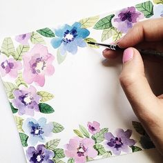 Цветочного утра Watercolor Cards, Watercolor Illustration, Watercolour Painting, Watercolor Flowers, Painting & Drawing, Watercolors, Flower Cards, Fabric Painting, Painting Inspiration