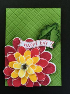 Scored background gives interest to this simple stacked flower from Flower Patch stamp set by Stampin' Up!  ATC, Artist Trading Card by Beverly Stewart.  Scoring.