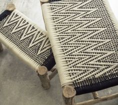 Woven cotton and eucalyptus wood-base bench seat