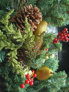 Delectable Decor    Marian Parsons created a stunning holiday wreath from Christmas fruits and natural accessories. 'Adding fresh fruit and collected pinecones to an artificial wreath lends a more natural look,' she says. 'When hung outside, cold weather will keep fruit fresh for a couple of weeks