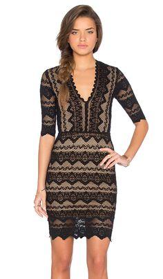 Sierra Lace 3/4 Sleeve Deep V Dress