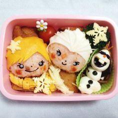 frozen bento Bento Recipes, Lunch Box Recipes, Bento Ideas, Kawaii Bento, Cute Bento, Bento Tutorial, Japanese Lunch Box, Japanese Food, Oriental