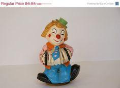 Vintage UCGC Japan Circus Musical Porcelain Ceramic Accordion Player Clown Doll