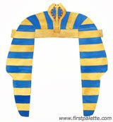 Craft an easy ancient Egyptian collar or necklace out of a paper plate. Wear it as part of an Egyptian costume together with our DIY Egyptian bracelet, Pharaoh Headdress, and ancient Egyptian headband. Egyptian Crafts, Egyptian Party, Egyptian Costume, Ancient Egypt Crafts, Fun Crafts For Kids, Diy For Kids, Craft Kids, Craft Free, Kids Fun