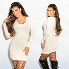 Fehér köves kötött ruha