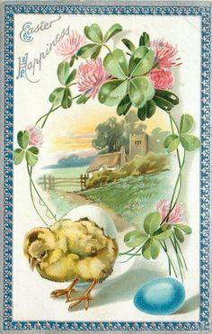 ПАСХА СЧАСТЬЕ цыпленок стоит ниже клевера граничит вставка церкви и ограды, синий яйцо ниже, синий / серебро границы
