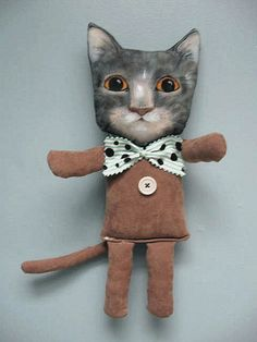cat buddy art doll by By Sandy Mastroni