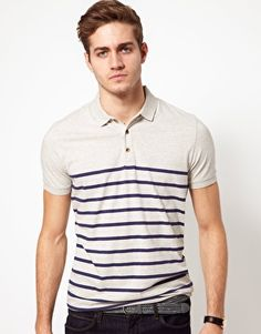 ASOS Stripe Polo - Gray