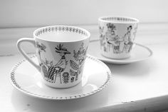 "Arabia Finland ""Emilia"" by Raija Uosikkin. Vintage Cups, Vintage Love, Espresso Cups, Marimekko, Helsinki, Scandinavian Design, Tea Set, Kitchenware, Tableware"