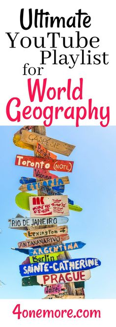 Teaching World Geography in your homeschool and need a resource list of appropriate YouTube videos? Grab this Playlist from 4onemore.com #homeschool #geography