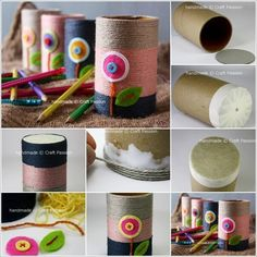 If you have any quick and easy DIY ideas with easy Toilet Paper Roll craft ideas, don't forget to share with us. Tissue Roll Crafts, Toilet Paper Roll Crafts, Paper Crafts, Tin Can Crafts, Glue Crafts, Diy And Crafts, Desk Organization Diy, Diy Desk, Pen Holder Diy