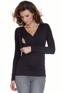 Seraphine Adele Ingenious Long Sleeve Maternity And Nursing Top | Nursing Apparel  Available at Due Maternity www.duematernity.com