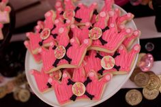 Pink crown sugar cookies for a pirate princess party Jennycookies.com