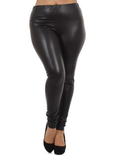 Plus Size Hot High Waist Leather Leggings Plus Size Clubwear, Plus Size Leggings, Plus Size Fashion, High Fashion, Leather Leggings, High Waist, My Style, Hot, Sexy