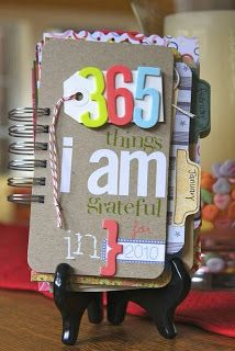 Cool little thankfulness book. Buy a pocket calendar and every day write a sentence about what your grateful for