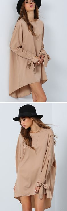 Fantastic camel loose dress with knotted sleeve at romwe.com. So lovely !