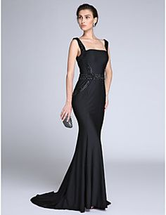 2017 TS Couture®Formal Evening Dress Trumpet / Mermaid Straps Sweep / Brush Train Jersey with Beading – CAD $ 510.60