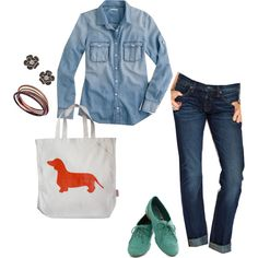 Denim on denim is okay these days!  Looking for a way to style it?  Check out my outfit of the day...and the cuter than cute tote bag!