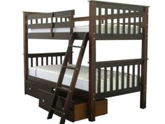 Bunk Bed Twin over Twin Mission Cappuccino with Drawers