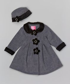 Look what I found on #zulily! Gray Floral Fleece Swing Coat & Beanie - Infant by Good Lad #zulilyfinds