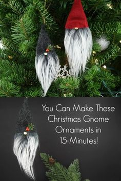 Christmas Gnome Ornaments - A Quick, Adorable Craft You can find Ornaments and more on our website.Christmas Gnome Ornaments - A Quick, Adorable Craft Gnome Ornaments, Diy Christmas Ornaments, Holiday Crafts, Diy Christmas Crafts To Sell, Handmade Ornaments, Christmas Crafts For Adults, Cool Christmas Ideas, Spring Crafts, Crafts For Christmas Decorations