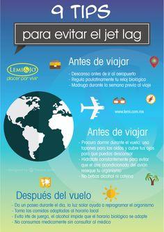 Infografía: 9 #tips para evitar el #jetlag.  #bienestar #salud #infografia