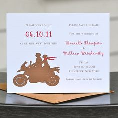 Save The Date / Wedding Save The Dates - Motorcycle Ride Away With Me. $18.00, via Etsy.
