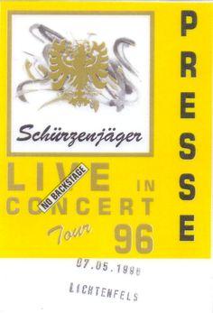 Schürzenjäger – Tourpass Tour: 96 Ort: Lichtenfels Datum: 07.05.1996 Pass-Status: Presse. www.starcollector.de