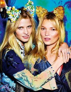 Lara Stone + Kate Moss + bedazzled cat ears. rawr.