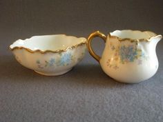 Charles Haviland & Co., Hand Painted Forget-Me-Not Decorated from brysantiques on Ruby Lane