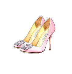 Fashion Art, Manolo Blahnik Hangisi Satin Pump Light Pink Watercolor Illustration, Wall Art Decor, Bridesmaid Gift