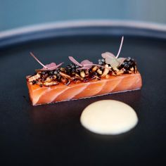 Yuzo cured Salmon puffed wild rice with caviar
