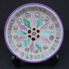 Mosaic Stained Glass Birdbath / Coaster Etc by GardensAndCrafts, $25.00