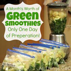 a month's worth of green smoothies, I bagged all 5 of them up last night and tried one for the first time today. Pretty good! I cut the water with OJ to make it a little sweeter. B