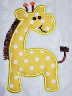 Cute little giraffe. Applique Templates, Applique Embroidery Designs, Machine Embroidery Applique, Applique Patterns, Applique Quilts, Patchwork Quilting, Creeper Minecraft, Baby Applique, Motifs Animal