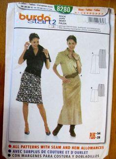 Burda sewing Pattern no. 8280 Ladies Skirt sizes 10--28 #Burda #Patterns
