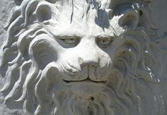 lion head carved stone detail