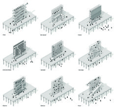 'Queensway Bilboards' is a renovation of an abandoned railway in Queens, New York. The project rethinks the typology of billboards, giving them a social function instead of a brand logo. The structures appear along the Queensway site and become local l...