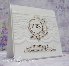 Première Communion, First Holy Communion, Communion Invitations, Shaped Cards, Bible Art, Cute Cards, I Card, Cardmaking, Diy And Crafts