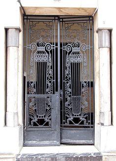 Wrought iron gate and door, Casablanca Art Deco Door, Iron Doors, Wrought Iron, Beautiful Doors, Wrought Iron Gates, Exterior Door Designs, Moroccan Doors, Old Doors, Doors