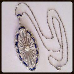 edwardian diamond sapphire brooch   Rare Antique Edwardian Diamond Platinum Sapphire Necklace Pendant ...