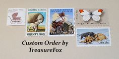 Reserved Custom Order for Carolyn. Unused Vintage US Postage Stamps for Baby Shower invitations by TreasureFox on Etsy