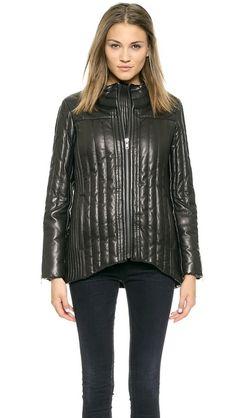 Helmut Lang Petal Leather Puffer Jacket