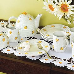 Yellow Bee Porcelain Tea Set -- mug, creamer, sugar/honey pot, dessert plates, teapot