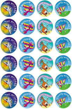Writing Merit Stickers - Australian Teaching Aids - 96 brightly coloured writing stickers to reward or decorate. Reward Stickers, Teacher Stickers, Dinosaur Crafts, Teaching Aids, Child Life, Happy Thoughts, Classroom Management, Badges, Motivational