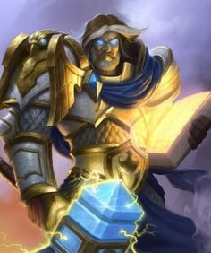 Uther Lightbringer - Hearthstone: Heroes of Warcraft Wiki Uther Lightbringer, Hearthstone Heroes Of Warcraft, World Of Warcraft Paladin, Art Warcraft, Gaming Posters, Armadura Medieval, Collectible Cards, Wow Art, Fantasy Armor
